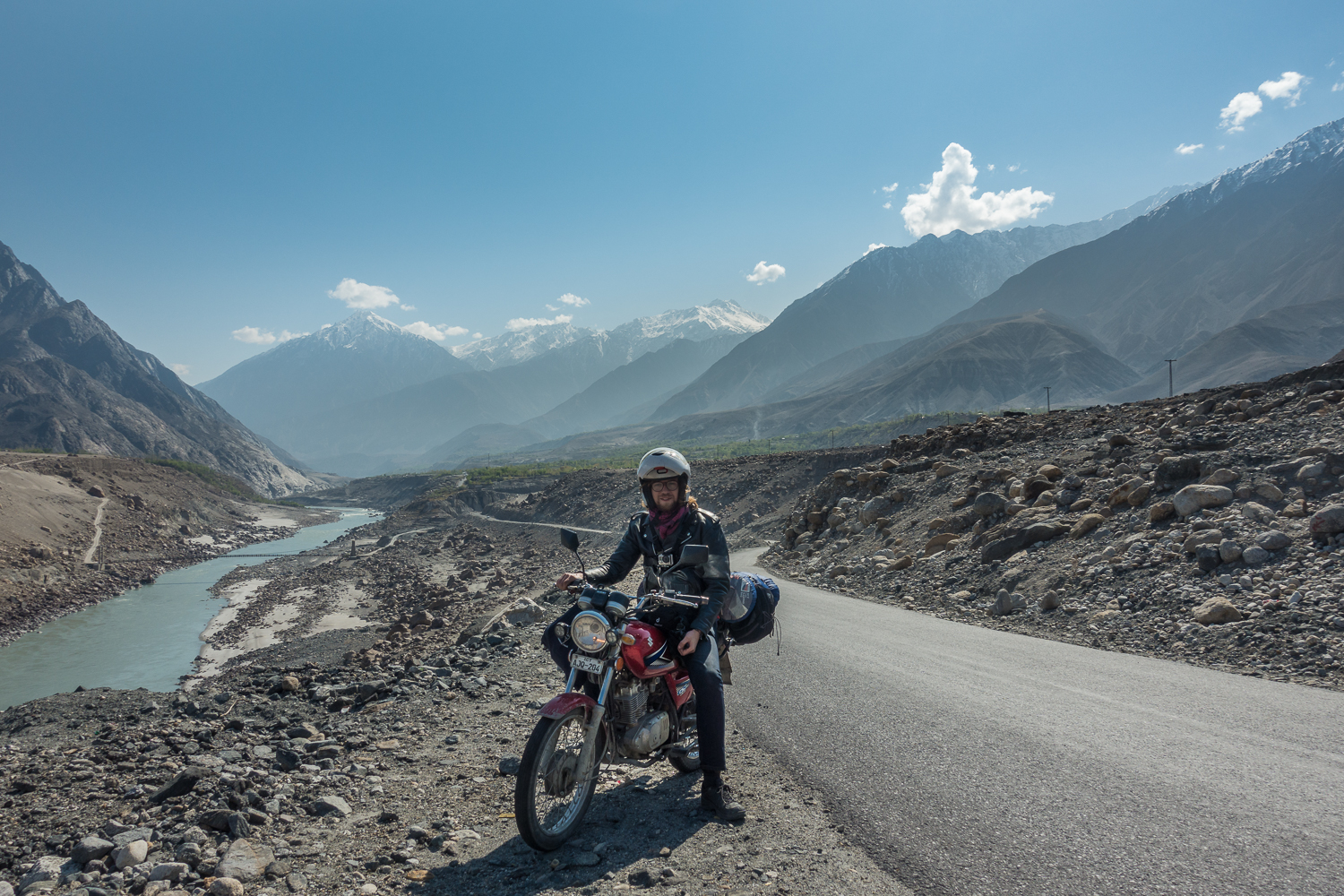 Me with my bike on the famous Karakoram Highway